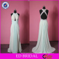 Top Sale Real Photo Cross Back Beaded Pleated Beaded Auqa Designer Dress