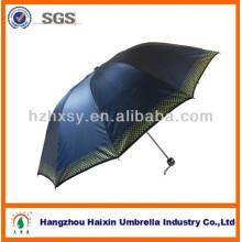 23 Zoll drei klappbaren Polyestergewebe Regenschirm mit UV-Beschichtung Kunststoffgriff