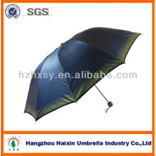 23 inch three folding polyester fabric umbrella with UV-coating plastic handle