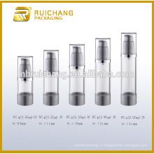 20ml / 25ml / 30ml / 40ml / 50ml bouteille plastique sans cosmétiques, bouteille ronde en plastique sans air, bouteille cosmetique sans air