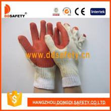 Guantes de algodón recubiertos de goma roja con precio competitivo (DCL301)