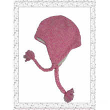 Fashion Pink Color Crochet Weave Beanie Hat with String Ball (1-3447)