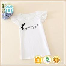 Dernières conceptions de chemise pour les enfants O-cou enfants T-shirts blancs simples de coton pour des filles