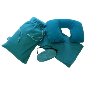 Blue Soft Convenient Pillow Travel Comfort Blanket Kits