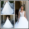 Appliques Boat Neck Tulle Satin Long Sleeve Wedding Dress Bridal Gown
