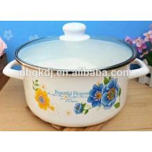 enamel heating pot double handle with glass lid