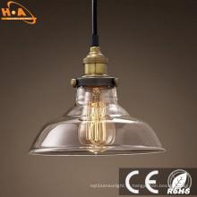 Lâmpada de pendente de vidro da luz da decoração do vintage com parafuso E27