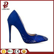 11cm thin heel blue elegant crystal shoes