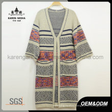 Knitted Women Long Cardigan Sweater