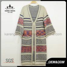 Knitted Women Long Cardigan Sweater