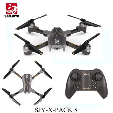 SJY-X-Pack 8 flux optique positionnement hauteur set drone pliable wifi FPV drone avec 720p HD caméra LED lumière PK Eachine E58