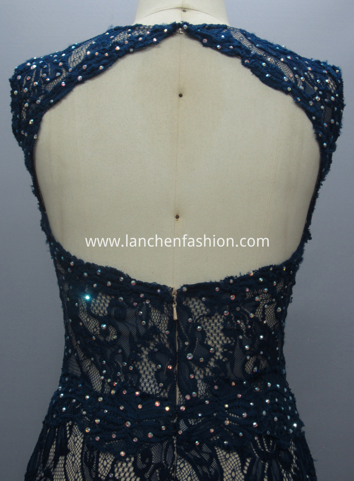 Backless Evening NAVY detail