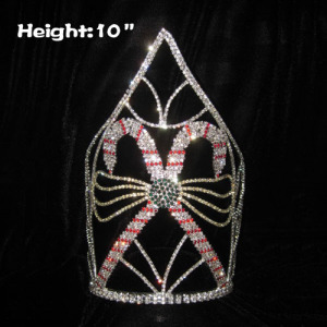10in Height Crystal Candy Cane Pageant Crowns