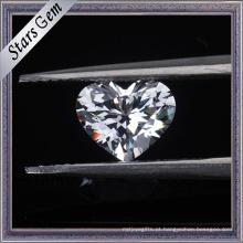 Pedras brancas da zircônia cúbica da cor do corte brilhante da forma do coração 6X6mm para a jóia da forma