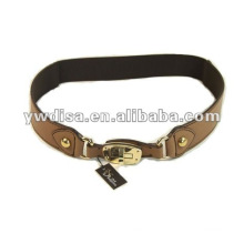 Brown Elastic And Real Leather Belts For Women