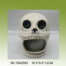 Ceramic kitchen sponge holder with skull design