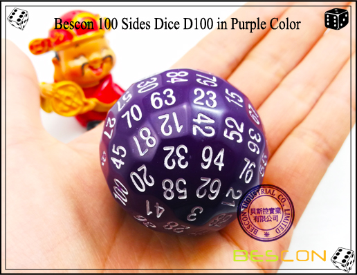 Bescon 100 Sides Dice D100 in Purple Color-2