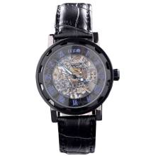 Leather mechanical wrist watch for men