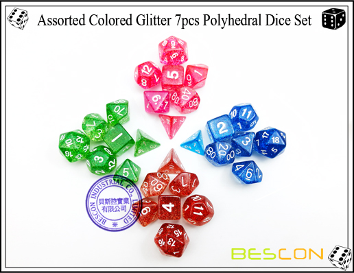 Assorted Colored Glitter 7pcs Polyhedral Dice Set-8