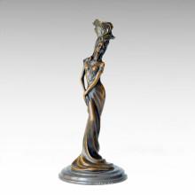 Candleholder Statue Flower Lady Candlestick Bronze Sculpture Tpch-063~066