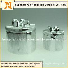 Electroplate la caja de cerámica de la baratija para la decoración de la Navidad, (decoración casera)