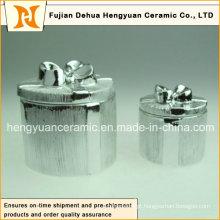Electroplate caixa de cerâmica Trinket para decoração de Natal, (Decoração para casa)