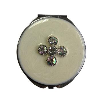 Miroirs de poche blanc trèfle à quatre feuilles