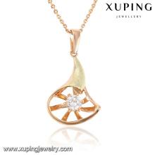 30482 moda charme cubic zirconia jóias cadeia pingente em banhado a ouro