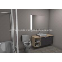 Новое прибытие доступную дизайнерскую Мебель для ванной комнаты, серые мягкие всплыли Меламиновым покрытием МДФ двери и каркаса