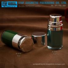 Venta caliente delicado y encantador color personalizable redondo doble capa buena calidad 15ml loción airless bomba botella de acrílico