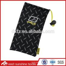 Bolsa de lentes de tela lisa, bolsa de gafas de sol de microfibra con cordón