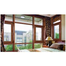 Последний дизайн с двойным закаленным стеклом из дерева и алюминиевого окна