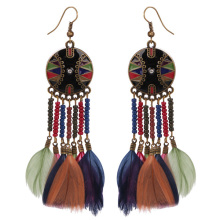 Wholesale Beaded Style Beach Gilded Hoop Feather Earrings