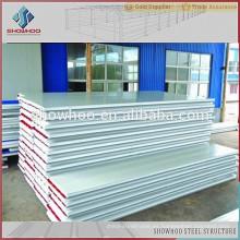 China Qingdao Showhoo bajo precio buen aislamiento EPS panel sándwich para el almacén de acero edificio de taller