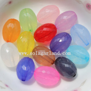 Jelly Acrylic Oval Faceted Beads with Bicone Shape Facets