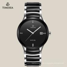Relojes de pulsera de cuarzo único de cerámica de la venta caliente negro 72116