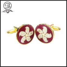 Personalised Hongkong Bauhinia flower cufflinks for men