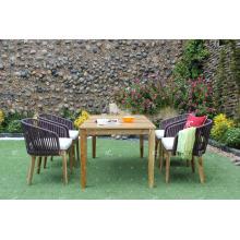 FLORES COLLECTION - Hottest Design Wicker Poly Rattan PE Esstisch und 4 Stühle Gartenmöbel