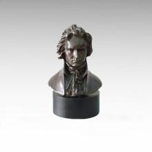 Bustes Laiton Statue Musicien Chopin Décor Bronze Sculpture Tpy-798