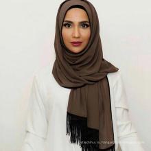 Женская мода сплошной шифоновое дизайн стильная мусульманская любовь шарф новый дизайн кистями макси турецкий Саудовская шаль хиджаб женщины