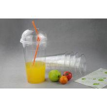 Copo bebendo transparente personalizado descartável do suco do animal de estimação / PP com abóbada / tampas lisas
