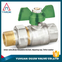 TMOK TK-5016 manual power 1/2'' male union X 1/2'' female thread forged brass ball valve with blue wing handle aluminum