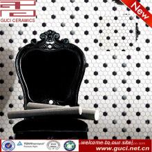 China suministra azulejos de mosaico de cocina de azulejos de cerámica hexagonal blanco y negro