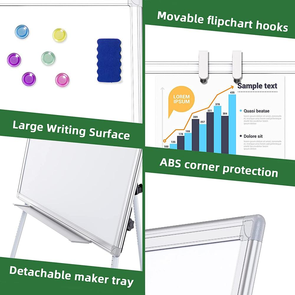 White Height Adjustable Easel Board