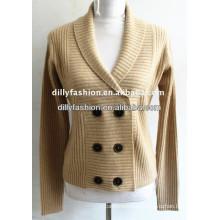 Suéter de la rebeca hecha punto beige de la cachemira 2017 de doble botonadura