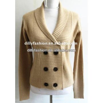 Camisola de casaco de caxemira de malha bege de 2017 com colarinho duplo
