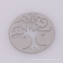 Dernière conception ronde plaques en acier inoxydable argent, mémoire de verre arbre creux des plaques de la vie