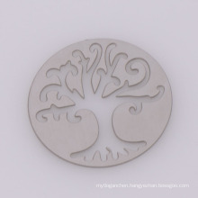 Latest design round silver stainless steel plates, glass memory hollow tree of life plates