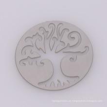 Placas de aço inoxidável de prata redonda de design mais recente, placas de árvore oca de vida de memória de vidro