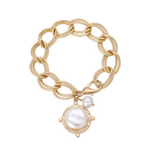 European and American ins simple OT buckle pearl bracelet women fashionable and creative hip-hop metal chain bracelet